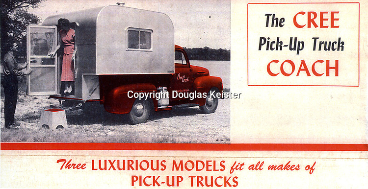 Two pickup campers emerged almost simultaneously in the mid-1940s—the Cree camper in the Midwest and the Sport King on the West Coast. The Cree Truck Coach was manufactured in Marcellus, Michigan, by Howard Cree. Cree had operated a travel trailer and cabin campground, Cree's Log Cabin and Trailer Court, and had a trailer dealership near Detroit. In the latter stages of World War II, Cree sold his business and purchased a Ford dealership in Marcellus. Capitalizing on the burgeoning vacation market that emerged after World War II and drawing inspiration from some of the homemade campers Cree had seen at his trailer court, he came up with an idea for combining a trailer and a pickup truck. The result of his tinkering was a boxy little camper that he dubbed the Cree Pick-Up Truck Coach. The first models were displayed at a sports-and-travel show at the Navy Pier in Chicago in 1945 and shortly thereafter orders came pouring in. <br /><br />Cree Coaches were offered in 8 and 10-foot models and were also available mounted on a chassis so they could be converted into a trailer and pulled by an automobile. The Cree Coaches were homely and utilitarian, to be sure, but they marked an important milestone in RV history. Unlike trailers, they were much easier to maneuver and unlike house cars, the camper could be left behind when not needed. Courtesy Milton Newman collection.