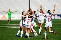 MONTCLAIR, NJ - OCTOBER 03: Paige Nielsen #14 of the Washington Spirit and other teammates celebrate the goal by Kumi Yokoyama #17 of the Washington Spirit during a game between Washington Spirit and Sky Blue FC at MSU Soccer Park at Pittser Field on October 03, 2020 in Montclair, New Jersey.
