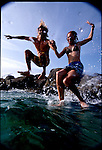 1 AUGUST 2001  - South Beach, Florida   - The newest in watergear for the 2001 season. Models swim underwater with a snorkel mask and swim fins..Photo Credit: Andrew Kaufman.©2001 Andrew Kaufman, All rights reserved.