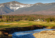Ammonoosuc River with the Presidential Range in the background from the Mount Washington Resort in Bretton Woods, New Hampshire USA during the spring months.
