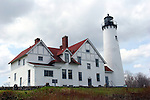 Point Iroquois Light House, Brimley Michigan beachside view on Lake Superior
