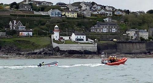 Youghal's Atlantic 85 inshore lifeboat arrived on scene in less than 10 minutes to tow the angling boat