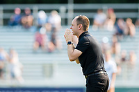 CARY, NC - SEPTEMBER 12: Portland Thorns head coach Mark Parsons gives instructions during a game between Portland Thorns FC and North Carolina Courage at WakeMed Soccer Park on September 12, 2021 in Cary, North Carolina.