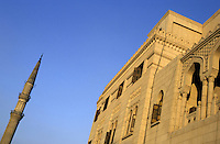 Minaret and exterior of the Al-Hussein Mosque, Cairo, Egypt.