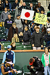 March 9, 2019: Fans hold signs as Naomi Osaka (JPN) defeated Kristina Mladenovic (FRA) 6-3, 6-4 at the BNP Paribas Open at the Indian Wells Tennis Garden in Indian Wells, California. ©Mal Taam/TennisClix/CSM