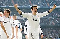 Real Madrid's Alvaro Morata celebrates with his partners during La Liga match.March 02,2013. (ALTERPHOTOS/Acero) /NortePhoto