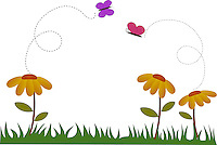 Cute illustration of flowers and butterfly in garden during spring. <br /> <br /> <br /> This image is also available as scalable EPS and PNG format(with transparent background).