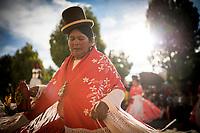 Bolivia, La Paz, Copacabana, Dancer in traditional costume, Fiesta de la Virgen de la Candelaria