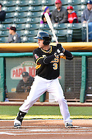 J.B. Shuck (3) of the Salt Lake Bees at bat against the Sacramento River Cats at Smith's Ballpark on April 5, 2014 in Salt Lake City, Utah.  (Stephen Smith/Four Seam Images)