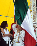 Mexican actress Jesusa Rodriguez smiles during a rally at the Mexico City's main plaza Zocalo to support to Andres Manuel Lopez Obrador, September 3, 2006. Photo by Heriberto Rodriguez