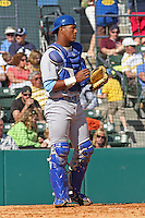 Salvador Perez #39 of the Wilmington Blue Rocks behind the plate against the Myrtle Beach Pelicans on April 11, 2010  in Myrtle Beach, SC.