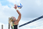Tulane Sand Volleyball battles ULM at Coconut Beach on a wet, soggy day.
