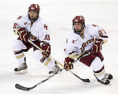 Joe Whitney (BC - 15), Steven Whitney (BC - 21) - The Boston College Eagles defeated the Merrimack College Warriors 4-3 on Friday, October 30, 2009, at Conte Forum in Chestnut Hill, Massachusetts.