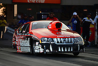 Jun. 30, 2012; Joliet, IL, USA: NHRA pro stock driver V. Gaines during qualifying for the Route 66 Nationals at Route 66 Raceway. Mandatory Credit: Mark J. Rebilas-