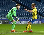 Rangers v St Johnstone…25.04.21   Ibrox.  Scottish Cup<br />Zander Clark celebrates winning the penalty shoot out with Ali McCann<br />Picture by Graeme Hart.<br />Copyright Perthshire Picture Agency<br />Tel: 01738 623350  Mobile: 07990 594431