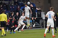 Kopfballduell Matthias Ginter (Deutschland Germany) gegen Victor Palsson (Island Iceland) - 25.03.2021: WM-Qualifikationsspiel Deutschland gegen Island, Schauinsland Arena Duisburg