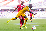 Awer Mabil of Australia (R) fights for the ball with Salem Alajalin of Jordan (L) during the AFC Asian Cup UAE 2019 Group B match between Australia (AUS) and Jordan (JOR) at Hazza Bin Zayed Stadium on 06 January 2019 in Al Ain, United Arab Emirates. Photo by Marcio Rodrigo Machado / Power Sport Images