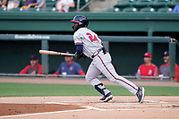 Center fielder Michael Harris II (24) of the Rome Braves in a game against the Greenville Drive on Friday, August 6, 2021, at Fluor Field at the West End in Greenville, South Carolina. (Tom Priddy/Four Seam Images)