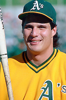 OAKLAND, CA - Jose Canseco of the Oakland Athletics takes batting practice before Game 4 of the 1988 World Series against the Los Angeles Dodgers at the Oakland Coliseum in Oakland, California in 1988. Photo by Brad Mangin