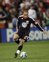 Fred (27) of D.C. United during an MLS match against the New York Red Bulls at RFK Stadium, in Washington D.C. on April 21 2011. Red Bulls won 4-0.