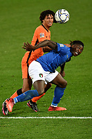 Nathan Ake of Netherlands and Moise Kean of Italy compete for the ball during the Uefa Nation A League Group 1 football match between Italy and Netherlands at Atleti azzurri d Italia Stadium in Bergamo (Italy), October, 14, 2020. Photo Andrea Staccioli / Insidefoto