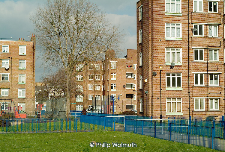 Blocks of flats on a council estate in Homerton, Hackney, London.