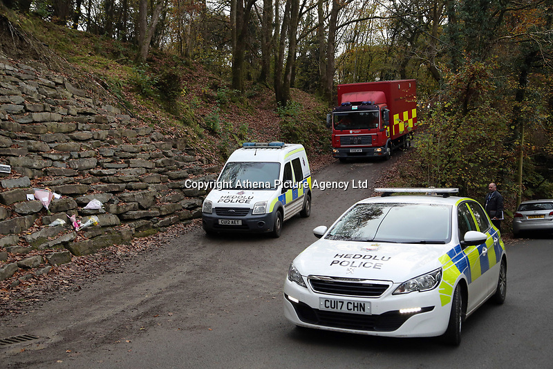 Pictured: A fire service vehicle leaves the house that burned in Llangammarch Wells, Powys, Wales, UK. Tuesday 31 October 2017<br />Re: Investigations continue into a house fire in which a father and several of his children have died.<br />Three children aged 13, 12 and 10 escaped the farmhouse in Llangammarch Wells, Powys, in the early hours of Monday and raised the alarm.<br />Police said they could not identify the deceased or confirm numbers.<br />One of those missing has been named locally as David Cuthbertson.