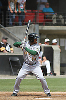 Lynchburg Hillcats left fielder L.V. Ware #19 at bat during a game against the Carolina Mudcats at Five County Stadium on April 26, 2012 in Zebulon, North Carolina. Carolina defeated Lynchburg by the score of 8-5. (Robert Gurganus/Four Seam Images)