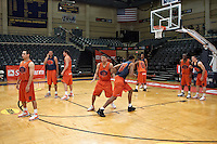 SAN ANTONIO, TX - APRIL 3, 2008: The University of Texas at San Antonio Roadrunners Men's Basketball team joins ESPN analyst Jay Bilas to demonstrate some of the favorite plays of the Final Four teams at the Bill Greehey Arena on the campus of St. Mary's University. (Photo by Jeff Huehn)