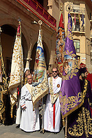 Empfang der Bruderschaften während der Semana Santa (Karwoche) vor dem Rathaus in Lorca,  Provinz Murcia, Spanien, Europa