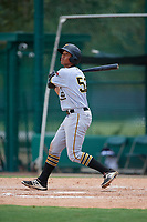 GCL Pirates left fielder Calvin Mitchell (52) bats during a game against the GCL Braves on July 27, 2017 at ESPN Wide World of Sports Complex in Kissimmee, Florida.  GCL Braves defeated the GCL Pirates 8-6.  (Mike Janes/Four Seam Images)