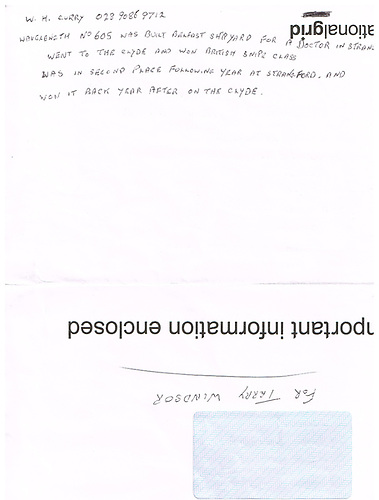 William Curry's note about Wavelength on the envelope courtesy William Curry