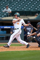 Michael Burns (44) of the Miami Hurricanes follows through on his swing against the Georgia Tech Yellow Jackets during game one of the 2017 ACC Baseball Championship at Louisville Slugger Field on May 23, 2017 in Louisville, Kentucky. The Hurricanes walked-off the Yellow Jackets 6-5 in 13 innings. (Brian Westerholt/Four Seam Images)