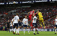 Hugo Lloris of Tottenham Hotspur punches away the aerial threat during a Swansea free kick during the Premier League match between Tottenham Hotspur and Swansea City at Wembley Stadium, London, England, UK. Saturday 16 September 2017