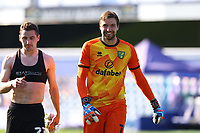 24th April 2021; The Kiyan Prince Foundation Stadium, London, England; English Football League Championship Football, Queen Park Rangers versus Norwich; Tim Krul of Norwich City celebrates the 1-3 win at full time with Kenny McLean