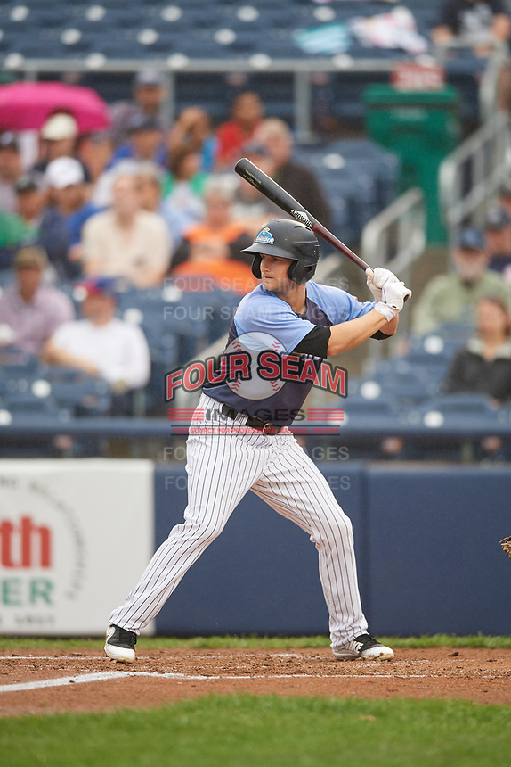 Trenton Thunder second baseman Bruce Caldwell (9) at bat during a game against the New Hampshire Fisher Cats on August 19, 2018 at ARM & HAMMER Park in Trenton, New Jersey.  New Hampshire defeated Trenton 12-1.  (Mike Janes/Four Seam Images)