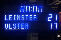 Friday 14th May 2021; The final score during the Guinness PRO14 Rainbow Cup Round 3 clash between Leinster and Ulster at The RDS Arena, Ballsbridge, Dublin, Ireland. Photo by John Dickson/Dicksondigital