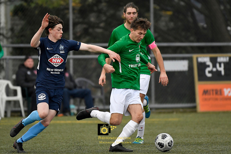 Bertie Fish of the Wairarapa United competes for the ball with Jesse Randall of the North Wellington FC during the Central League Football -  North Wellington FC v Wairarapa United at Alex Moore Park ( Alex Moore Artificial), Johnsonville, New Zealand on Saturday 29 May 2021.<br /> Copyright photo: Masanori Udagawa /  www.photosport.nz