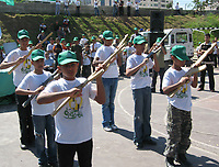 """Palestinian children in the training on weapons in a wooden summer camp organized by the Hamas movement in Gaza, July 11, 2007 .""""photo by Fady Adwan"""""""
