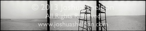 Triptych of beach with lifeguard chair<br />