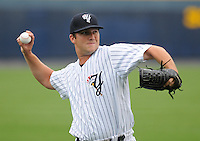 Starting pitcher Adam Warren (28) of the Scranton/Wilkes-Barre Yankees, International League affiliate of the New York Yankees, prior to a game against the Norfolk Tides on June 20, 2011, at PNC Park in Moosic, Pennsylvania. (Tom Priddy/Four Seam Images)