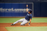 Julio Meza (2) slides into second base during the Tampa Bay Rays Instructional League Intrasquad World Series game on October 3, 2018 at the Tropicana Field in St. Petersburg, Florida.  (Mike Janes/Four Seam Images)