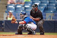 Catcher TJ Collett (34) of Terre Haute North Vigo High School in Terre Haute, Indiana playing for the Chicago Cubs scout team during the East Coast Pro Showcase on July 29, 2015 at George M. Steinbrenner Field in Tampa, Florida.  (Mike Janes/Four Seam Images)