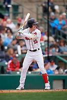 Rochester Red Wings Brent Rooker (19) bats during an International League game against the Charlotte Knights on June 16, 2019 at Frontier Field in Rochester, New York.  Rochester defeated Charlotte 3-2 in the second game of a doubleheader.  (Mike Janes/Four Seam Images)
