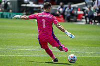 SAN JOSE, CA - APRIL 24: JT Marcinkowski #1 of the San Jose Earthquakes kicks the ball during a game between FC Dallas and San Jose Earthquakes at PayPal Park on April 24, 2021 in San Jose, California.
