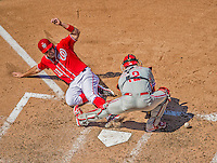 26 May 2013: Washington Nationals third baseman Ryan Zimmerman slides home safely scoring Washington's first run of the game as Philadelphia Phillies catcher Humberto Quintero cannot hold onto the ball in the seventh inning at Nationals Park in Washington, DC. The Nationals defeated the Phillies 6-1 to take the rubber game of their 3-game weekend series. Mandatory Credit: Ed Wolfstein Photo *** RAW (NEF) Image File Available ***