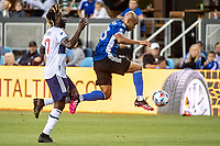 SAN JOSE, CA - AUGUST 13: Judson #93 of the San Jose Earthquakes jumps with the ball during a game between San Jose Earthquakes and Vancouver Whitecaps at PayPal Park on August 13, 2021 in San Jose, California.