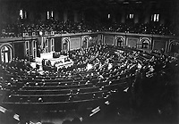 President Wilson reading the Armistice terms to Congress.  November 11, 1918.  Sgt. Vincent J. Palumbo.  (Army)<br /> NARA FILE #:  111-SC-25684<br /> WAR & CONFLICT BOOK #:  711