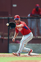 Philadelphia Phillies first baseman Mitch Walding (15) during an Instructional League game against the Toronto Blue Jays on October 1, 2016 at the Carpenter Complex in Clearwater, Florida.  (Mike Janes/Four Seam Images)