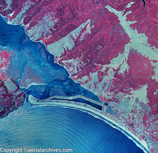 historical infrared aerial photograph of of Stinson Beach, Bolinas and the Bolinas Bay and Bolinas Lagoon, Marin County, California, 1987